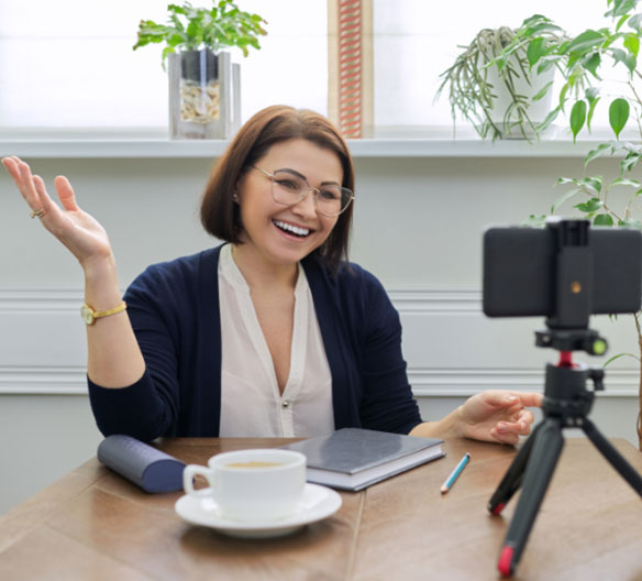 woman conducting teletherapy